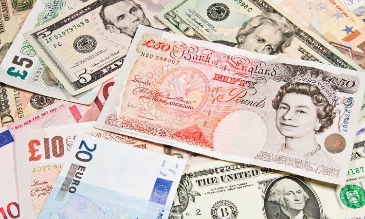 waluty różnych krajów - EUR, GBP, USD