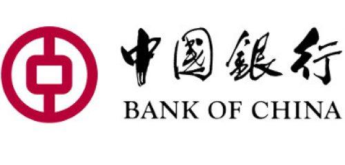 purpurowe logo Bank of China na białym tle