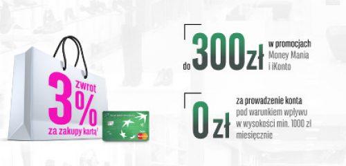 Torba na zakupy z różowym nadrukiem 3% symbolizującym wysokość moneyback - promocja BGŻ BNP Paribas