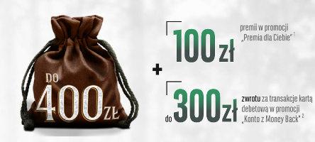 brązowy, zawiązany worek z napisem 400 zł - promocja konto optymalne w BGŻ BNP Paribas