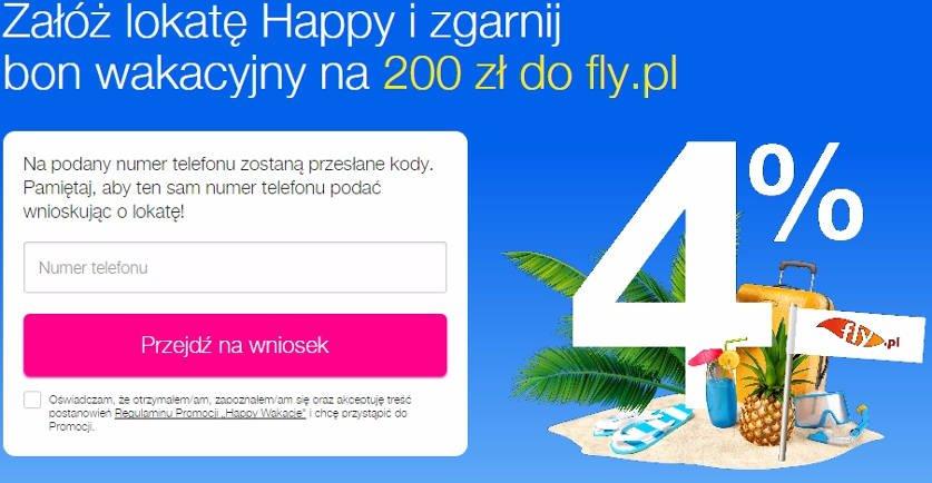 biały symbol 4% na błękitnym tle lokata happy od idea banku