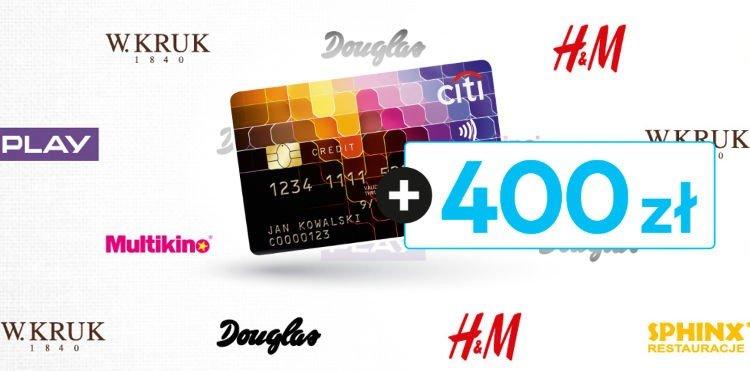 karta kredytowa Citibanku i loga partnerów akcji