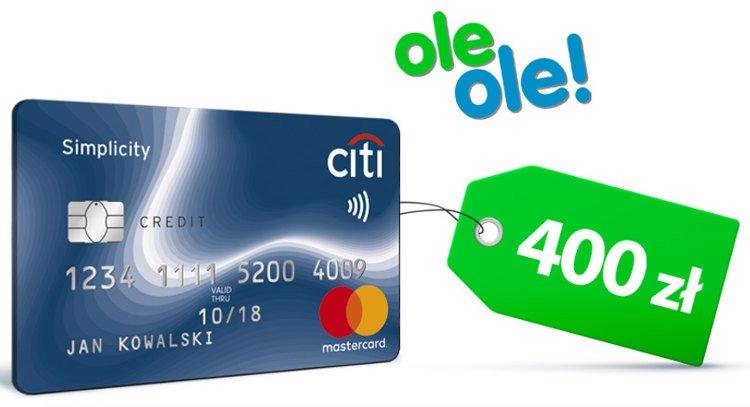 karta kredytowa z zielona etykietą 400 zł i logo sklepu oleole