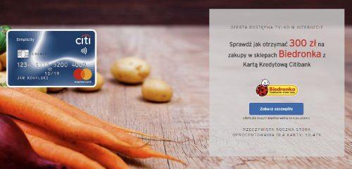 Citibank: 300 zł do Biedronki za wyrobienie darmowej karty Simplicity