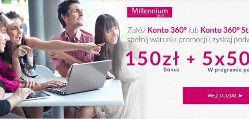 Bank Millennium: 150 zł premii za założenie Konta 360°