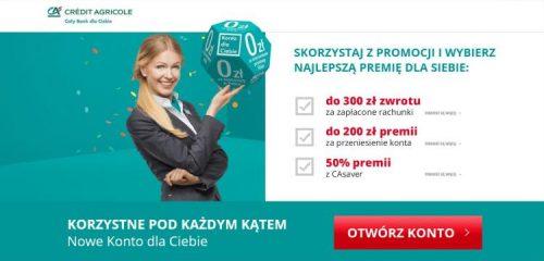 Credit Agricole: do 350 zł za konto i wysoko oprocentowany rachunek