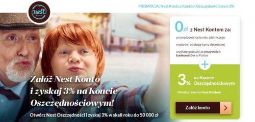 Nest Bank: 3% na koncie oszczędnościowym przez pół roku