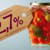 słoik z przetworami z etykietą 2,7%