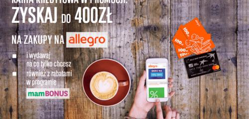 filiżanka kawy, smartfon w dłoniach i karta kredytowa bgż bnp paribas i bony Allegro
