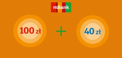 logo mbanku i wizualizacja premii na pomarańczowym tle
