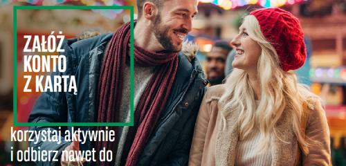 mężczyzna z kobietą na świątecznych zakupach