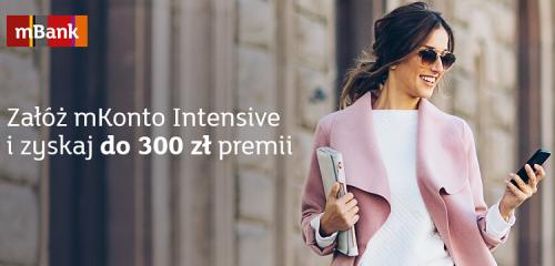 mBank: 300 zł za otwarcie mKonta Intensive + karta Visa Świat Intensive