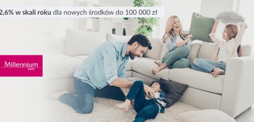 Bank Millennium: 2,6% na Koncie Oszczędnościowym Profit do 100 tys. zł