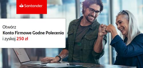 Santander Bank Polska: 250 zł premii za Konto Firmowe Godne Polecenia