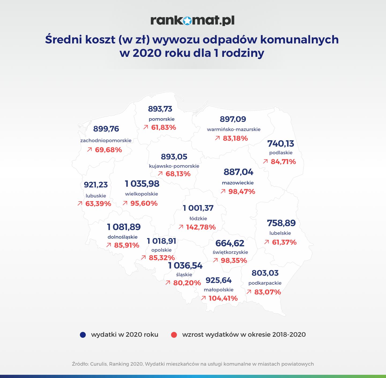 mapa Polski z cenami za wywóz odpadów