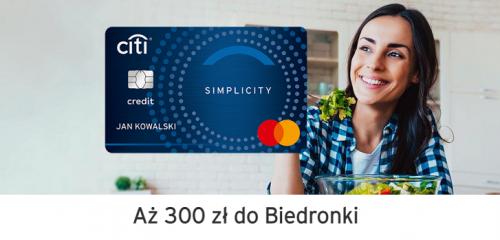 Bank Citi Handlowy: 300 zł do Biedronki za kartę kredytową Citi Simplicity